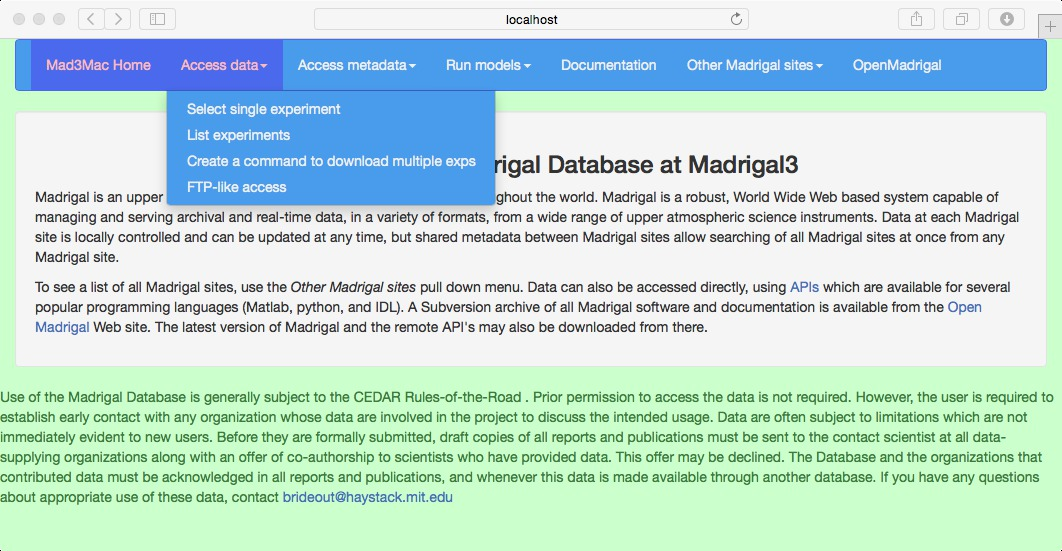 Accessing Madrigal through the web